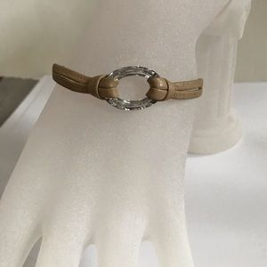 SDNY leather and glass ring bracelet